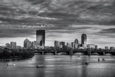 Prudential Center Photograph - Boston Skyline Sunset Over Back Bay In Bw by Joann Vitali