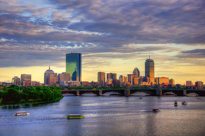 Ducks Photograph - Boston Skyline Sunset Over Back Bay by Joann Vitali