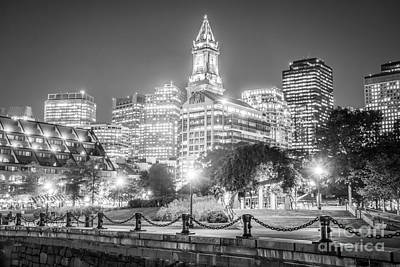 Custom House Tower Print featuring the photograph Boston Skyline With Christopher Columbus Park by Paul Velgos