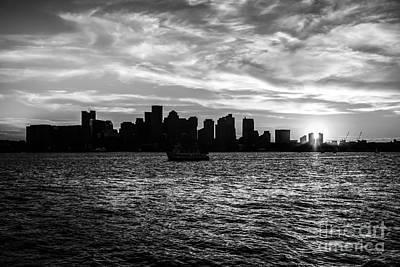 Boston Sunset Black And White Photo Print by Paul Velgos