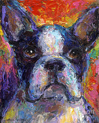 Impressionistic Dog Art Drawing - Boston Terrier Impressionistic Portrait Painting by Svetlana Novikova
