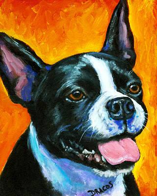 Boston Terrier On Orange Print by Dottie Dracos