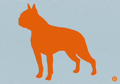 Boston Terrier Orange Print by Naxart Studio