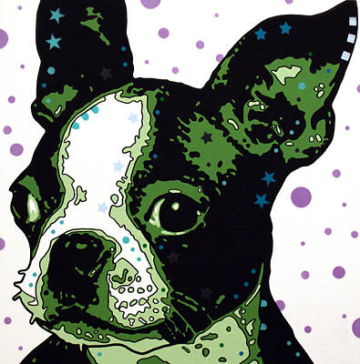 Boston Mixed Media - Boston Terrier Puppy by Dean Russo