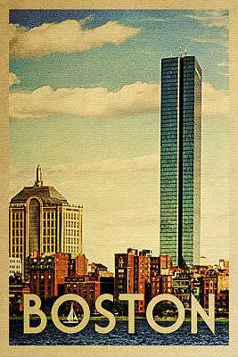 Boston Digital Art - Boston Travel Poster - Vintage Travel by Flo Karp