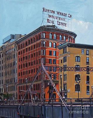 Old Street Painting - Boston Wharf Co On Summer Street by Deb Putnam