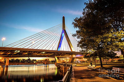Zakim Photograph - Boston Zakim Bunker Hill Bridge At Night Picture by Paul Velgos