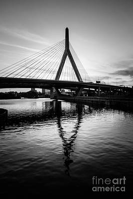 Zakim Photograph - Boston Zakim Bunker Hill Bridge In Black And White by Paul Velgos