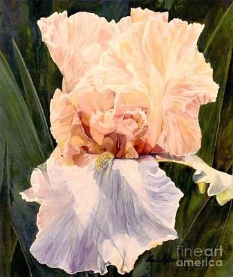Print Of Irises Painting -  Botanical Peach Iris by Laurie Rohner