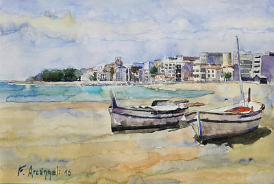 Decoraci Painting - Botes En La Playa  by Federico Arcangeli