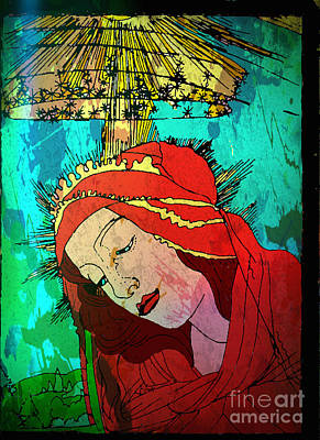 Botticelli Madonna Expressionistic Print by Genevieve Esson