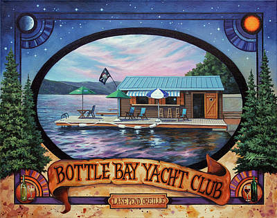 Boathouses Painting - Bottle Bay Yacht Club by Lucy West