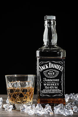 Bottle Of Jack Daniel's Print by Amanda Elwell