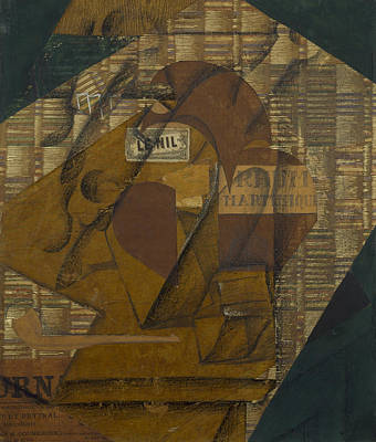 Bottle Painting - Bottle Of Rum And Newspaper by Juan Gris