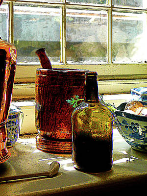 Bottles Photograph - Bottle With Mortar And Pestle by Susan Savad