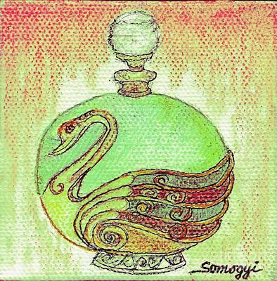 Kiwi Drawing - Bottled Kiwi Green Swan by Jayne Somogy