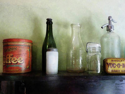 Bottles And A Coffee Can Print by Susan Savad