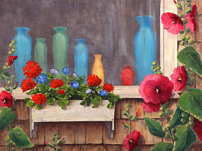 Boxes Painting - Bottles And Flowers by Elaine Farmer