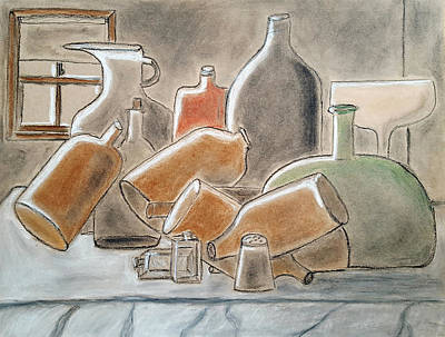 Glass Bottle Drawing - Bottles And Wine Glass By A Window by Joe Quinn