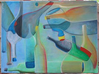 Bottles Fifteen Misty Blue Original by Karen Campbell