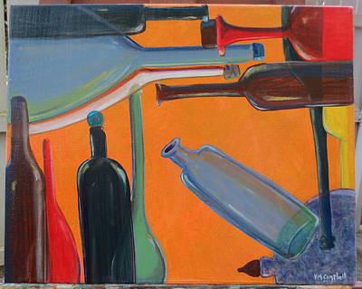Bottles Seven Mediterranean Print by Karen Campbell