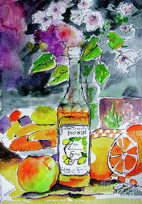 Bottles Still Life With Fruit And Bottle Print by Ginette Callaway