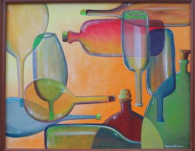 Bottles Ten Original by Karen Campbell