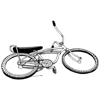 Banana Drawing - Bottom Up Bike by Karl Addison