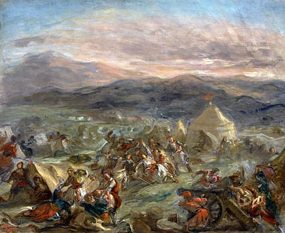 Botzaris Surprises The Turkish Camp And Falls Fatally Wounded Print by Eugene Delacroix