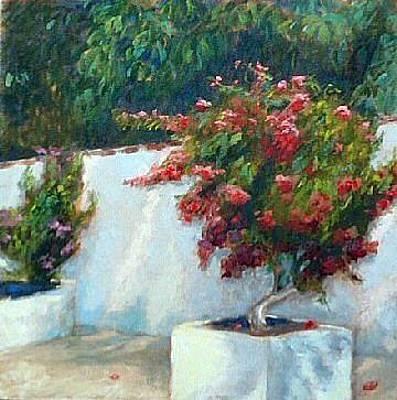 Impressionistic Landscape Painting - Bouganvillia by Brenda Williams