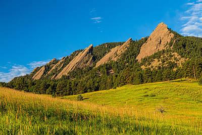 Boulder Colorado Flatirons Sunrise Golden Light Print by James BO  Insogna