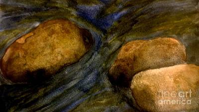Babbling Brook Painting - Boulders  by Eunice Miller