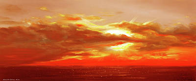 Sunset Painting - Bound Of Glory - Red Panoramic Sunset  by Gina De Gorna