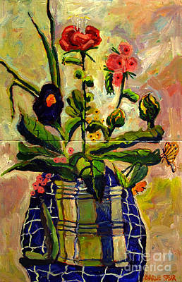 Bouquet In A Coffee Can On A Blue Table Cloth  Print by Charlie Spear