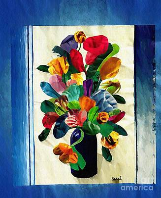 For Business Mixed Media - Bouquet In A Country Window by Sarah Loft