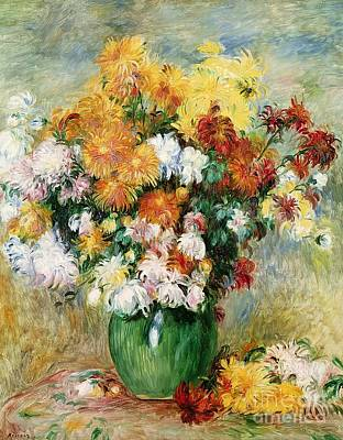 Arrangement Painting - Bouquet Of Chrysanthemums by Pierre Auguste Renoir