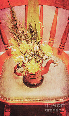 Bouquet Of Dried Flowers In Red Pot Print by Jorgo Photography - Wall Art Gallery