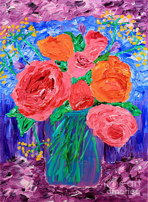 Bouquet Of English Roses In Mason Jar Painting Print by Beverly Claire Kaiya