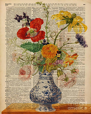 Flower Painting - Bouquet Of Flowers Over Dictionary Page by Jacob Kuch
