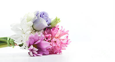 Blooming Photograph - Bouquet Of Fresh Flowers Isolated On White by Michal Bednarek