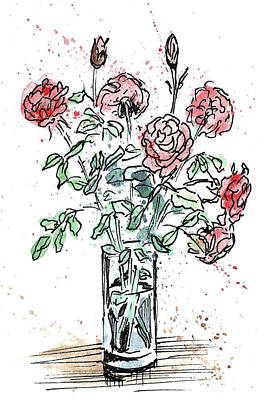Bouquet Of Roses In A Vase Print by Masha Batkova