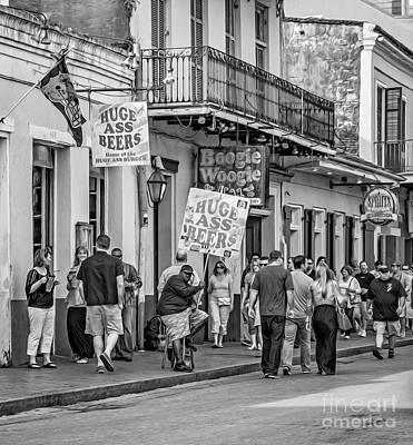 Bourbon Street - Let The Good Times Roll Bw Print by Steve Harrington