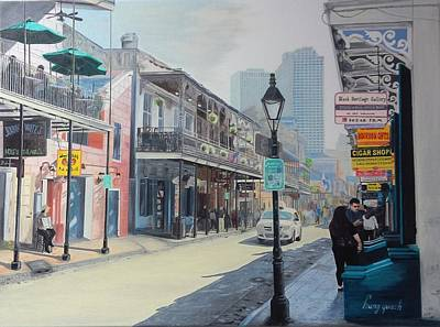 New Orleans Oil Painting - Bourbon Street Scene by Hung Quach