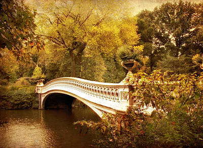 Rural Digital Art - Bow Bridge Autumn Gold by Jessica Jenney