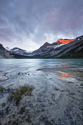 Bow Lake Photograph - Bow Lake At Sunrise by Jon Glaser