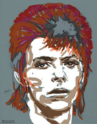 Singer Drawing - Bowie As Ziggy by Suzanne Gee