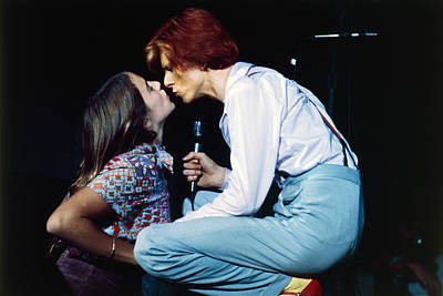 On-stage Photograph - Bowie Kissing A Fan  by Terry O'Neill