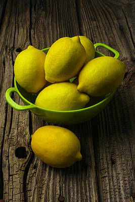 Bowl Of Lemons Print by Garry Gay
