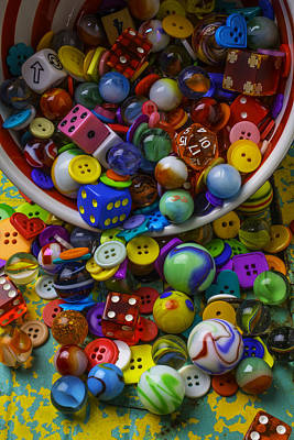 Bowl Spilling Marbles Buttons And Dice Print by Garry Gay