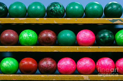 Bowling Balls In Ball Rack Print by Paul Velgos